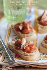 Salsa and Hummus Roasted Chicken Bruschetta