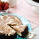 Banana Split Cheesecake with Strawberry Sauce