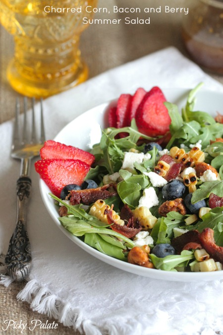 Charred Corn, Bacon and Berry Summer Salad