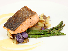 Crispy-Skin King Salmon with Roasted Asparagus, Fingerling Potatoes, and Hollandaise Sauce