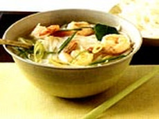 Hot and Sour Shrimp Soup with Noodles and Thai Herbs