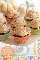 Two Ingredient Chocolate Pumpkin Cupcakes