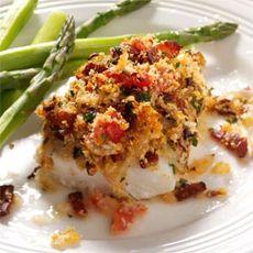 Bacon & Tomato-Topped Haddock Recipe