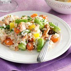 Spring Pilaf with Salmon & Asparagus Recipe
