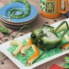 Cheese Worms with Grasshopper Dip Recipe