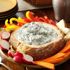 Spinach Dip in a Bread Bowl Recipe