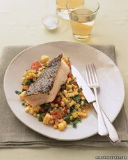 Striped Bass with Tomatoes, Corn, and Basil