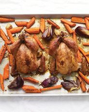 Maple-Glazed Cornish Game Hens with Carrots
