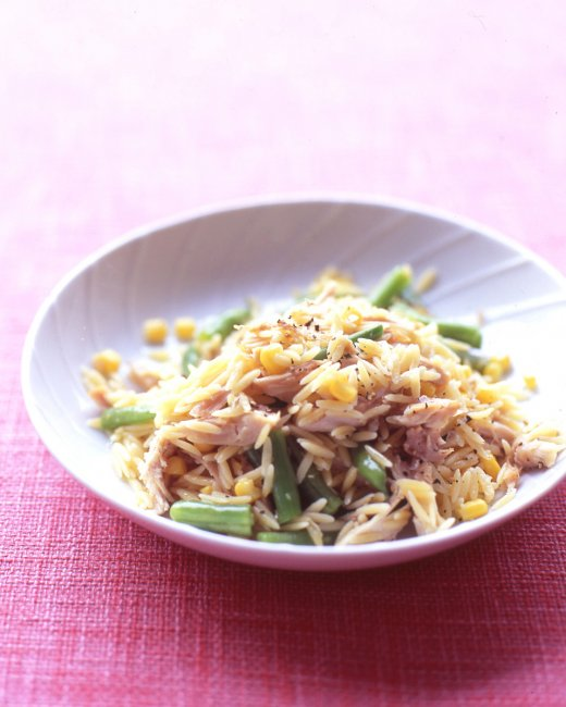 Orzo with Chicken, Corn, and Green Beans
