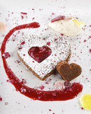 Chocolate-Beet Cakes with Candied Beets and Rose Petals