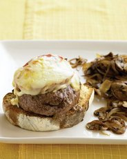 Open-Faced Cheeseburgers with Mushrooms and Onions