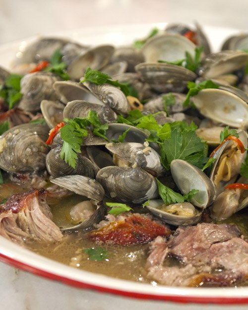Pork Shoulder with Roasted Clams and Fresno Chiles