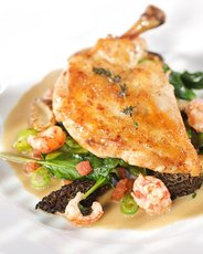 Roasted Chicken Breasts with Crayfish, Fava Beans, and Morels