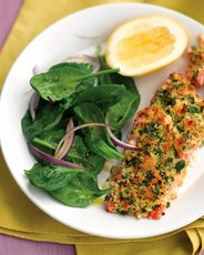 Herb-Crusted Salmon with Spinach Salad