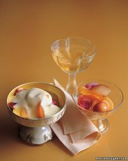 Sliced Stone Fruits with Muscat Sabayon