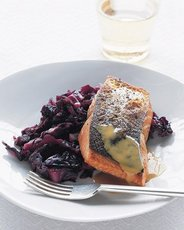 Crisp Salmon with Braised Red Cabbage and Mustard Sauce