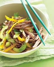 Cold Soba-Noodle Salad with Chicken, Peppers, and Cucumber