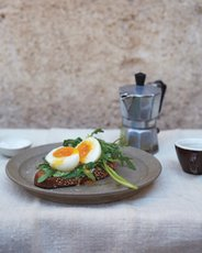 Soft-Boiled Egg Tartines with Green Mayonnaise