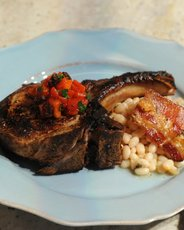 Pan-Roasted Pork Chops with Baked Beans and Agrodolce