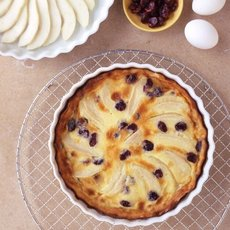 Pear and Dried Cherry Clafouti