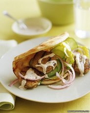 Quinoa-and-Turkey Patties in Pita with Tahini Sauce