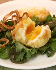 Crunchy Fried Eggs on a Dandelion Salad