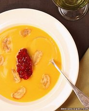 Pumpkin Soup with Cranberry Compote and Roasted Chestnuts