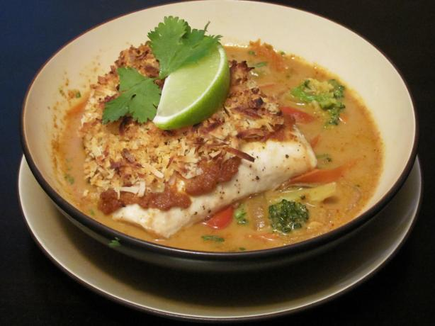 Broiled Tilapia With Thai Coconut- Curry Sauce
