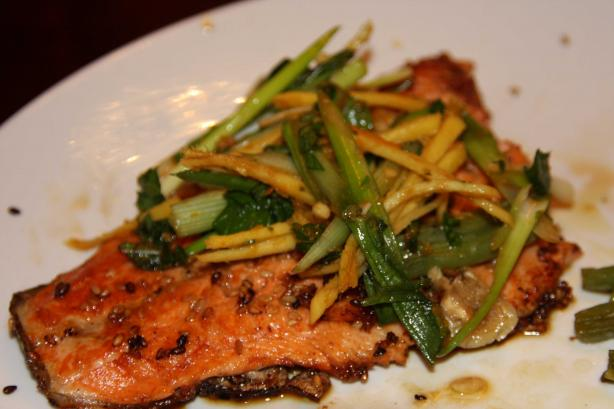 Sesame Crusted Trout With Ginger Scallion Salad