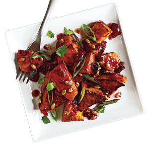Roasted Sweet Potato Salad with Cranberry-Chipotle Dressing