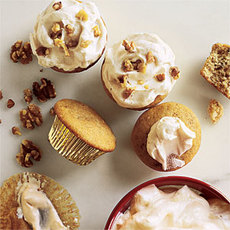 Walnut Cupcakes with Maple Frosting