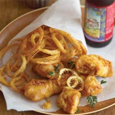 Beer-battered Cod and Onion Rings