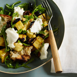 Grilled Panzanella with Arugula, Burrata, Summer Squash, and Olives ...