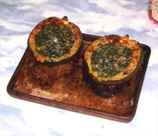 Roasted Acorn Squash With Spinach and Gruyere