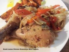 Greek Lemon Chicken Drumsticks With Peppers