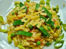 Leek, Bacon, and Pea Risotto