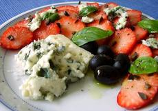 Strawberry Salad With Olives, Blue Cheese and Balsamic Vinegar