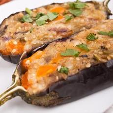 Grilled Bacon & Cheese Stuffed Eggplant