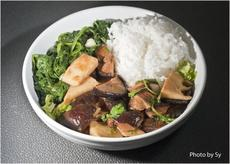 Stir-Fried Chicken, Black Mushrooms, Bamboo Shoots and Spinach