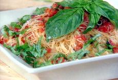 Fresh Tomato, Basil, and Garlic Sauce over Angel Hair Pasta