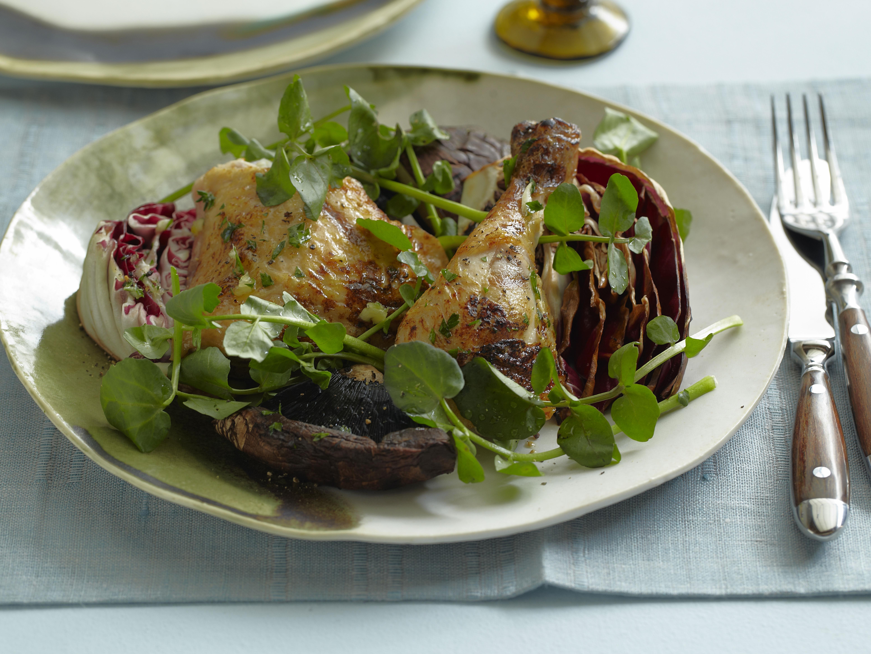 Garlicky Grilled Chicken, Portobello, and Radicchio Salad