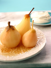 Riesling Poached Pears with Cardamom Cream