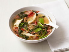 Dumpling Soup With Bacon and Snow Peas