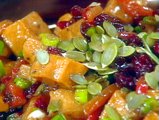 Roasted Sweet Potato Salad with Warm Chutney Dressing