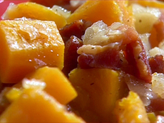 Stewed Butternut Squash with Apples and Smoked Bacon