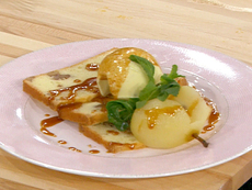 Poached Seckle Pears with Walnut Pound Cake, Blue Cheese Ice Cream and Rosemary Caramel