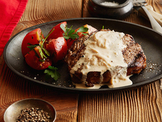 Rib Eye Steak with Onion Blue Cheese Sauce