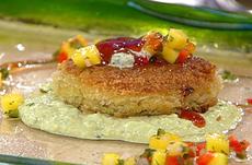 Crispy Louisiana Crab Cakes with Mango Salsa, Spiced Tomato Glaze and Cilantro-Avocado Emulsion