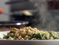 Farro with Asparagus, Hazelnuts and Kale Topped with Roasted Mushrooms