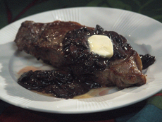 New York Strip Steak with Red Wine Mushroom Sauce